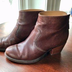 Nine West Chunky Heeled Auburn Leather Booties